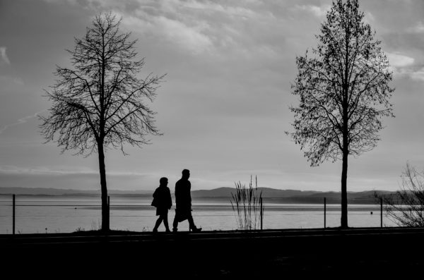 silhouettes walking together